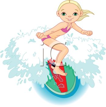 Young Girl Riding A Surfboard   Royalty Free Clip Art Picture