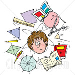 33051 Clipart Illustration Of A Confused School Boy Surrounded By