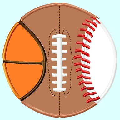 All In One Ball Football Baseball Basketball Applique Embroidery