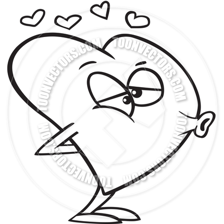 Cartoon Love Heart Puckering Its Lips For A Kiss  Black And White Line