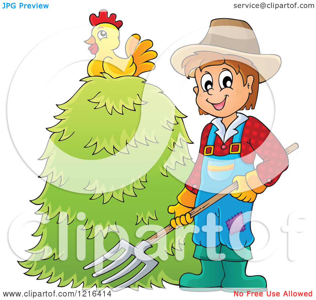 Clipart Of A Happy Farmer Holding A Pitchfork By A Pile Of Hay With A