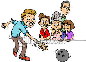 Family Bowling   Royalty Free Clipart Picture