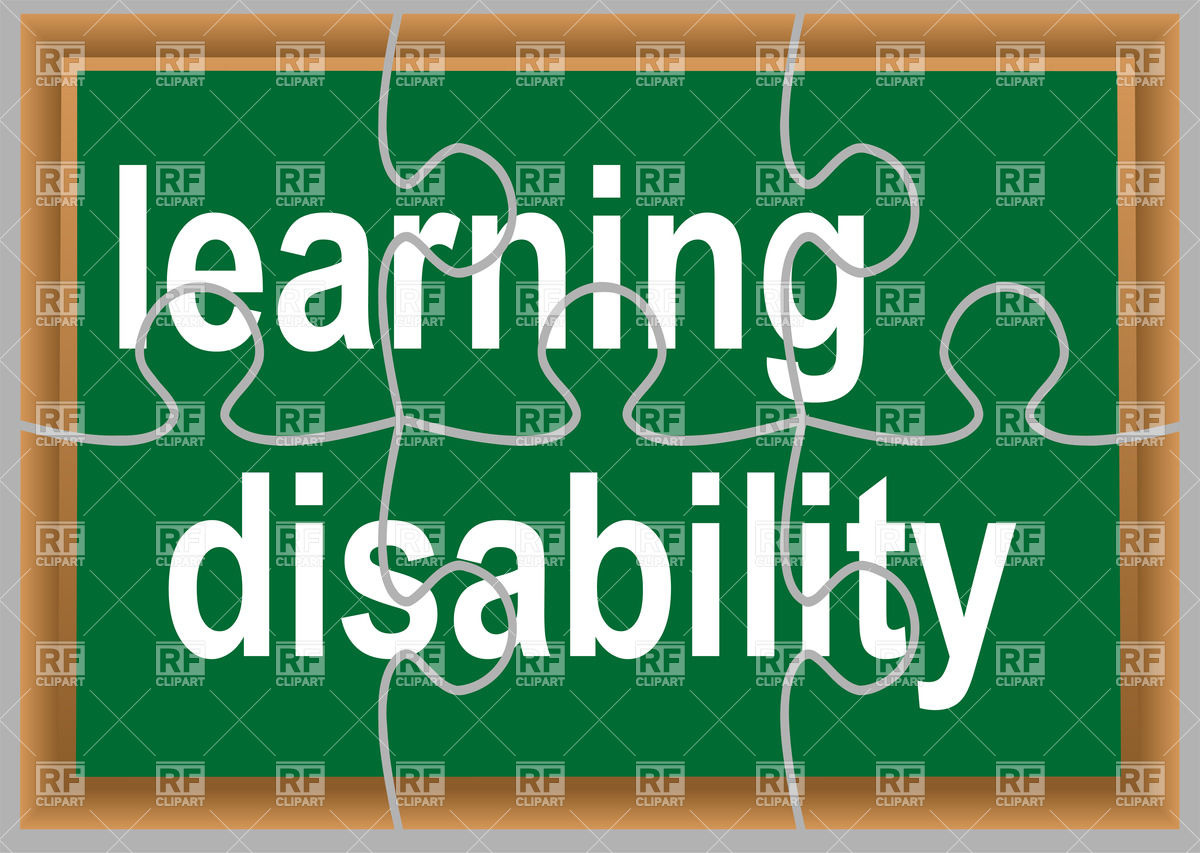 Learning Disability   Text On Green Puzzled Chalkboard Signs Symbols