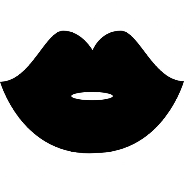 Woman Black Lips Shape Icons   Free Download