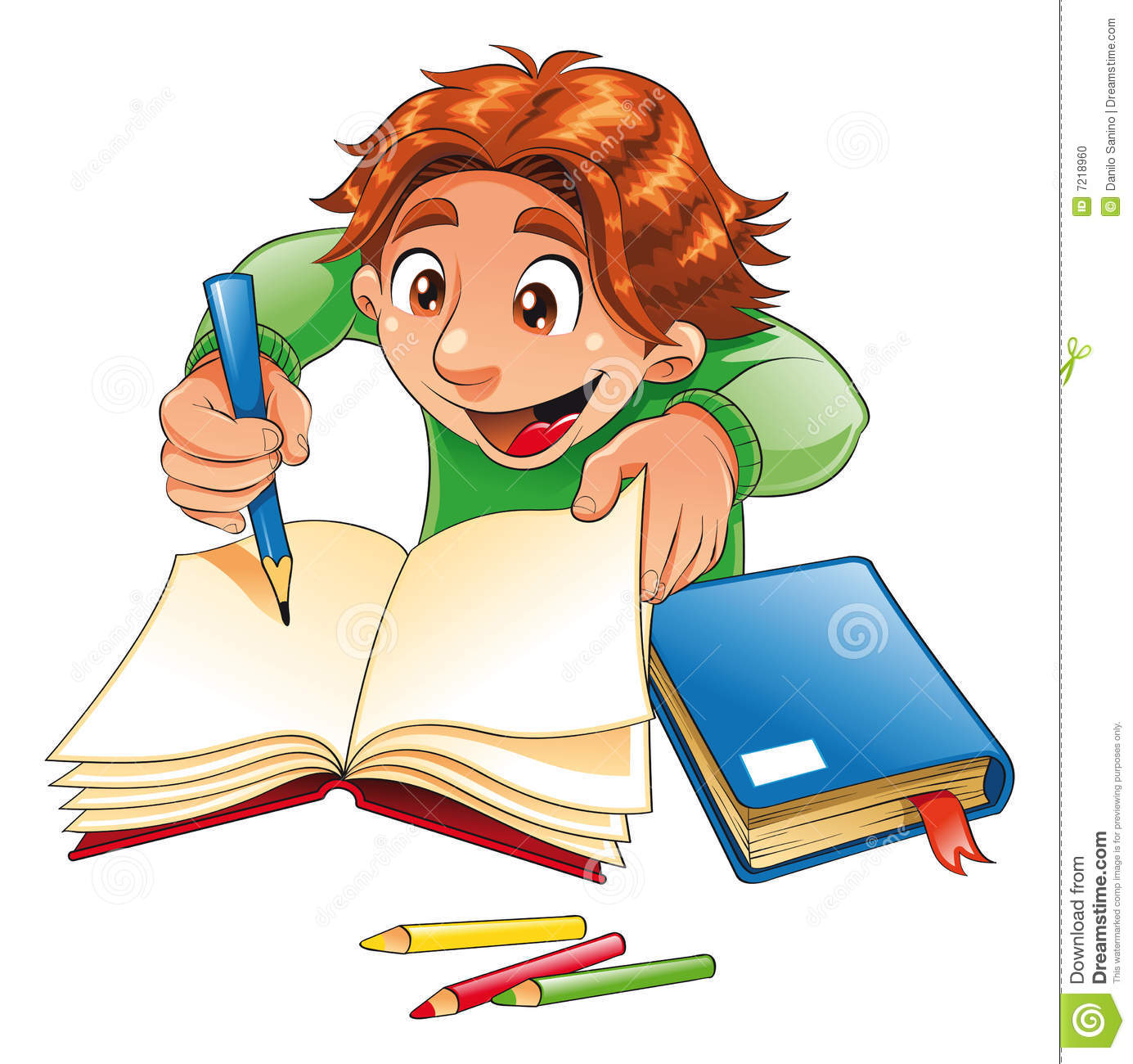 Boy Writing And Drawing Vector Image Software Illustrator