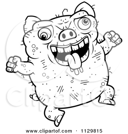 Cartoon Clipart Of An Outlined Jumping Ugly Pig Black And White