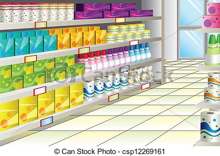 Clip Art Vector Of Grocery Store Aisle   A Vector Illustration Of