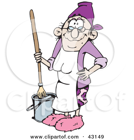 Clipart Black And White Woman Mopping A Floor   Royalty Free Vector