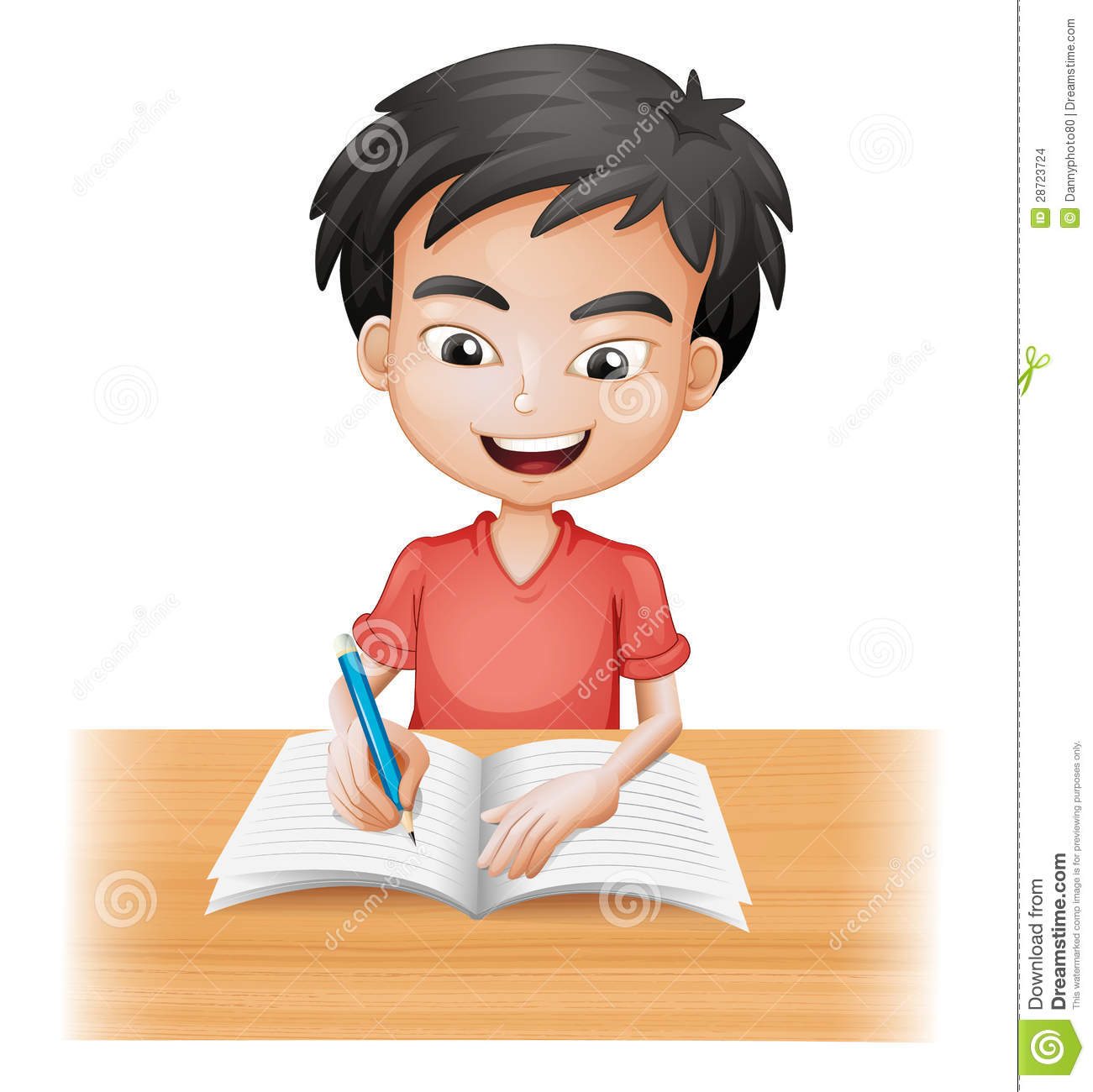 Illustration Of A Smiling Boy Writing On A White Background