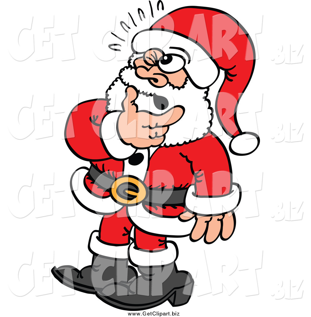 Larger Preview  Clip Art Of A Doubtful Santa In Thought By Zooco