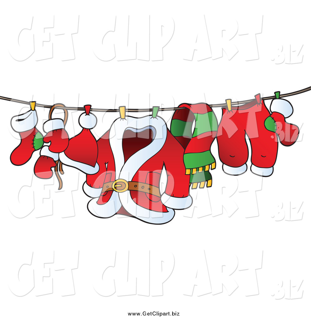 Larger Preview  Clip Art Of A Santa S Laundry On A Clothesline By
