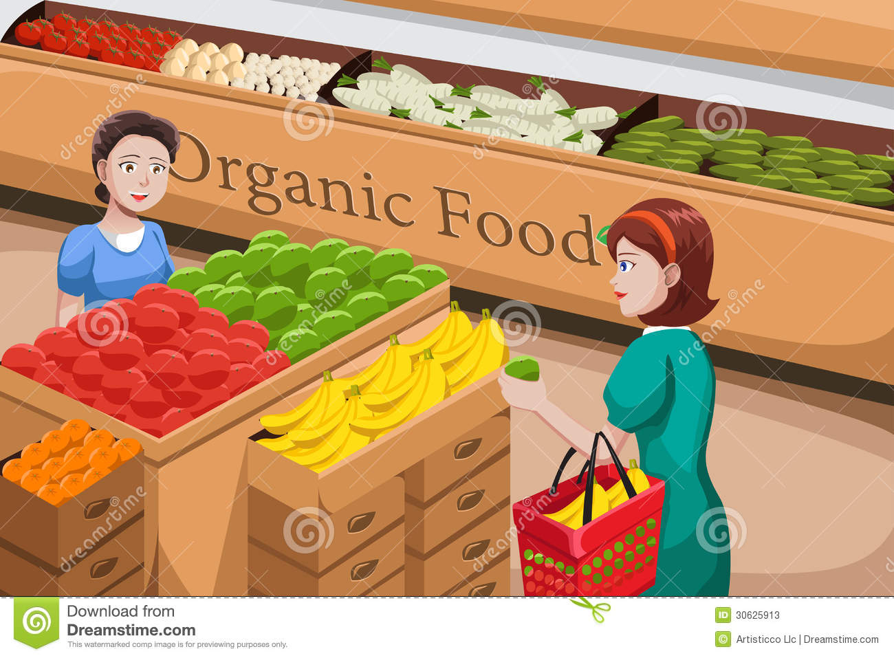 Of People Shopping At An Organic Food Aisle In A Grocery Store