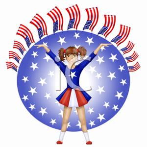 Patriotic Cheerleader   Royalty Free Clipart Picture