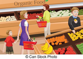 People Shopping For Organic Food   A Vector Illustration Of