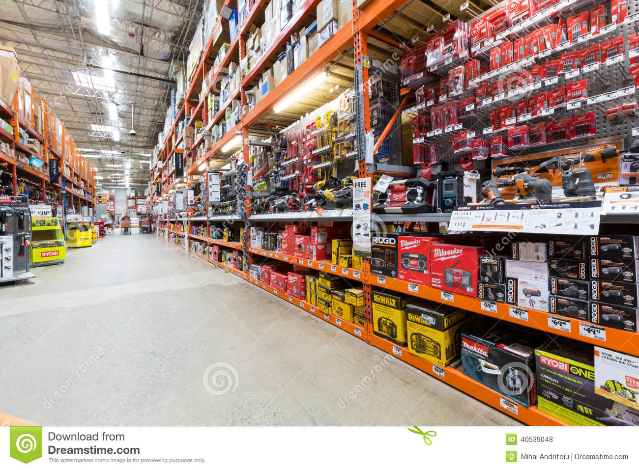 Power Tools Aisle In A Home Depot Hardware Store  The Home Depot Is
