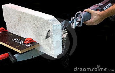 Stock Photos  Man Works With Saber Saw