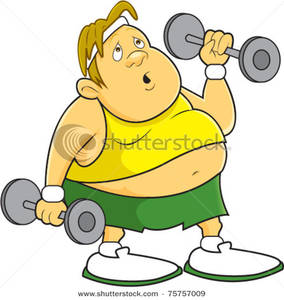 An Overweight Man Lifting Weights   Clipart