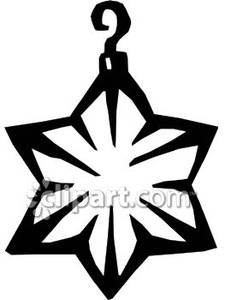 Black And White Star Shaped Christmas Ornament Royalty Free Clipart