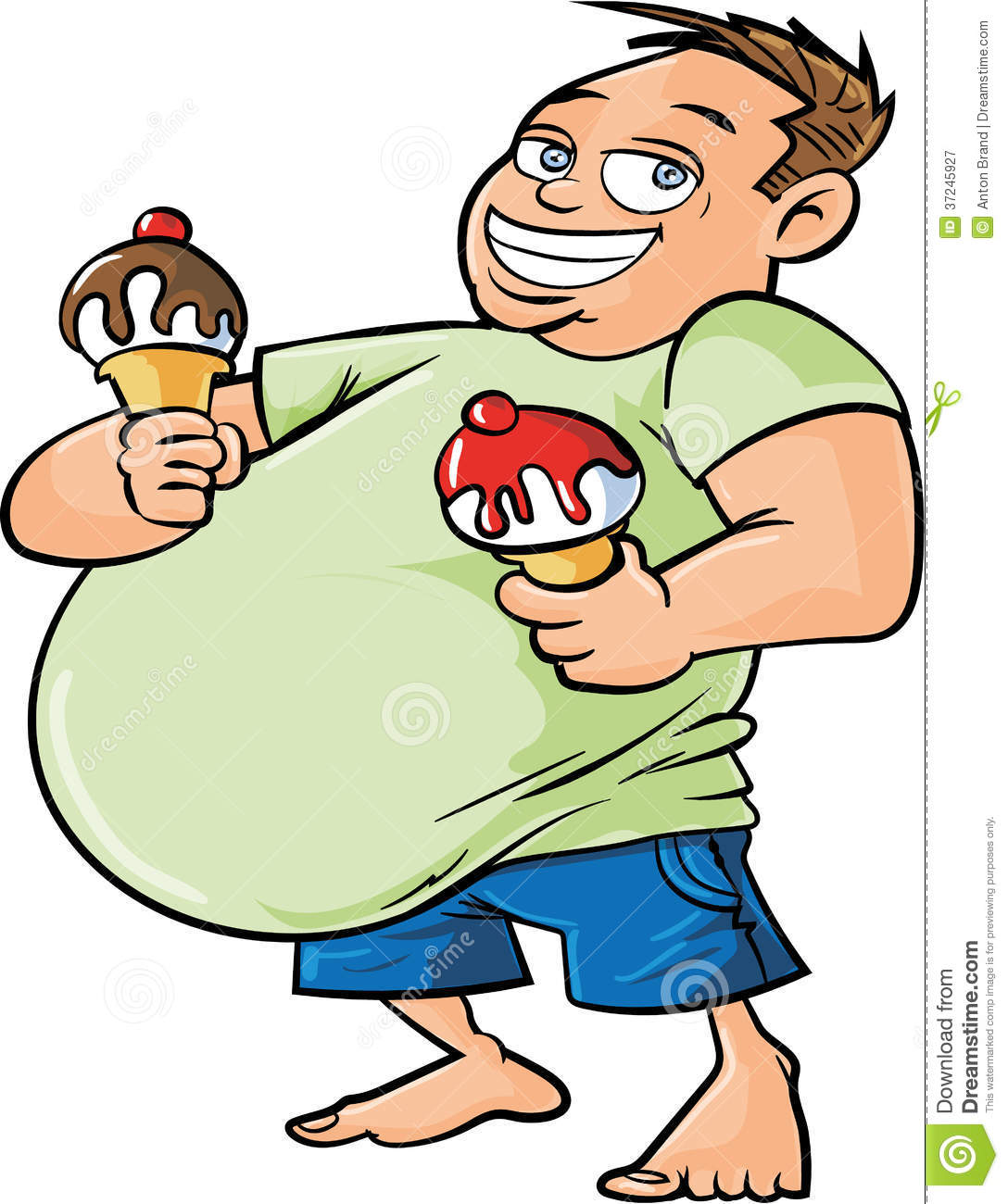 Cartoon Overweight Man Holding Two Ice Creams Royalty Free Stock