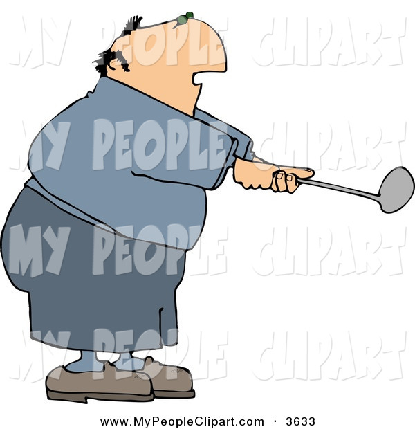 Clip Art Of A Pudgy Or Overweight Elderly Man Swinging A Golf Club By