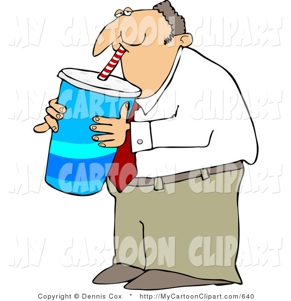 Clip Art Of An Overweight Businsesman Gulping A Large Fountain Soda By