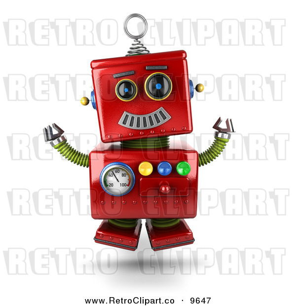 Clipart Of A 3d Retro Excited Happy Jumping Red Metal Robot