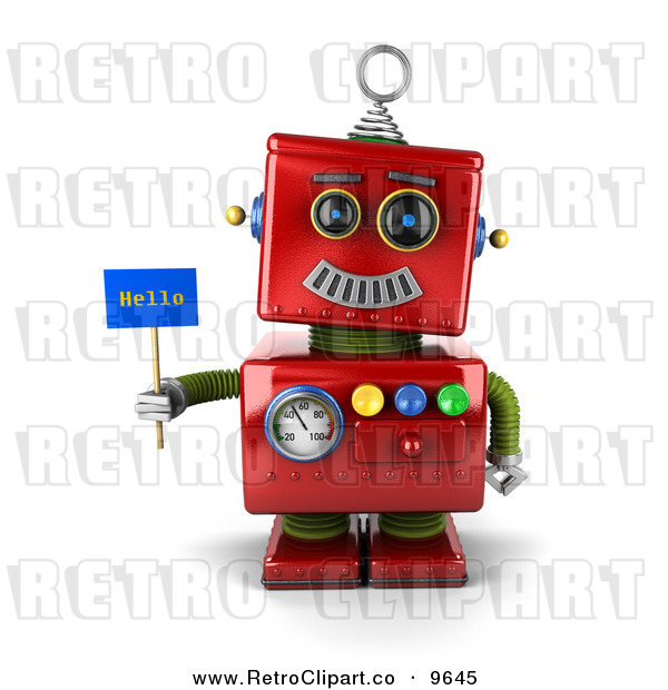 Clipart Of A 3d Retro Red Metal Robot Holding A Hello Sign By