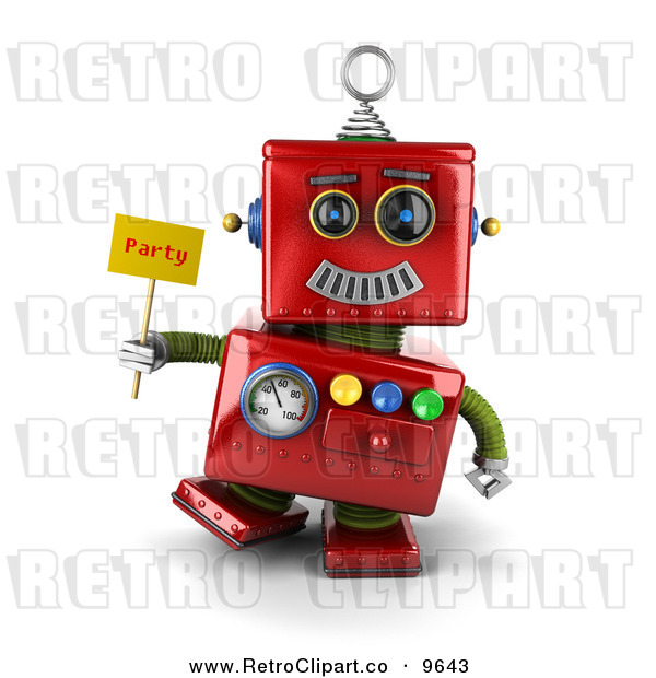 Clipart Of A 3d Retro Red Metal Robot Holding A Party Sign By