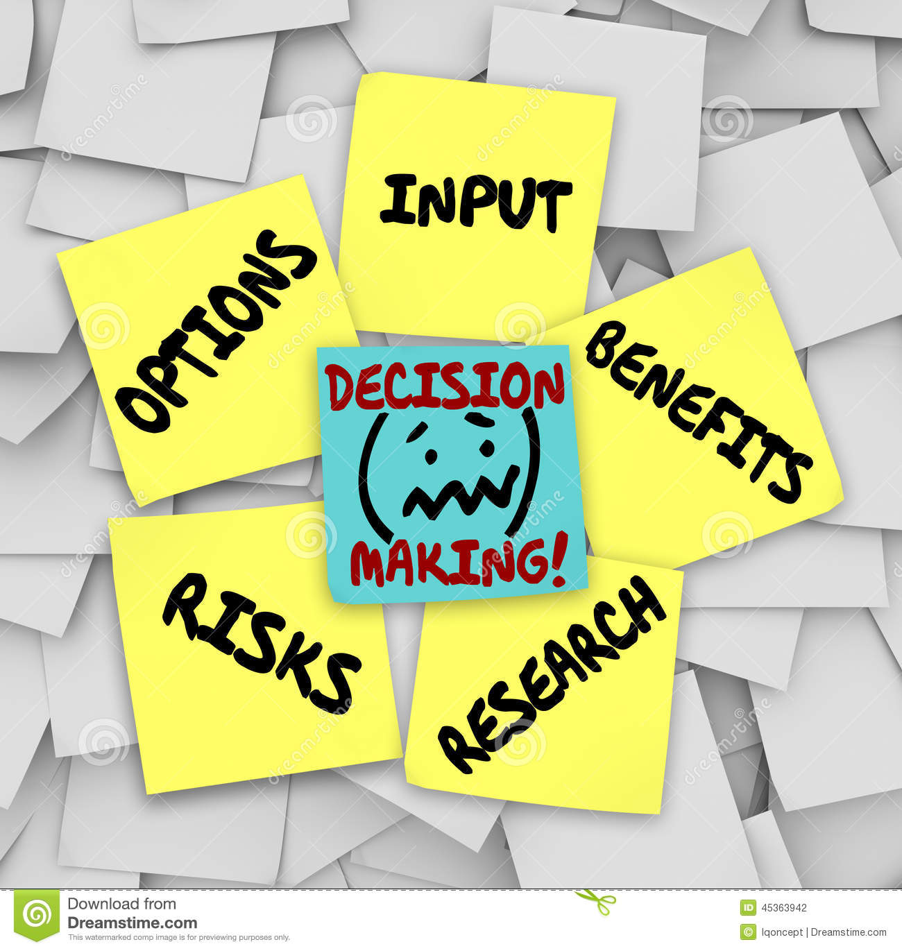 Decision Making Sticky Notes Input Options Risks Benefits Resear Stock