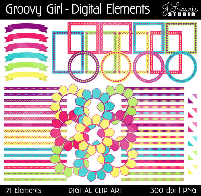 Digital Clipart Elements Groovy By Jlauriestudio On Etsy
