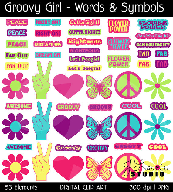 Digital Clipart Symbols Words Groovy Girl Flowers Seventies Sixties