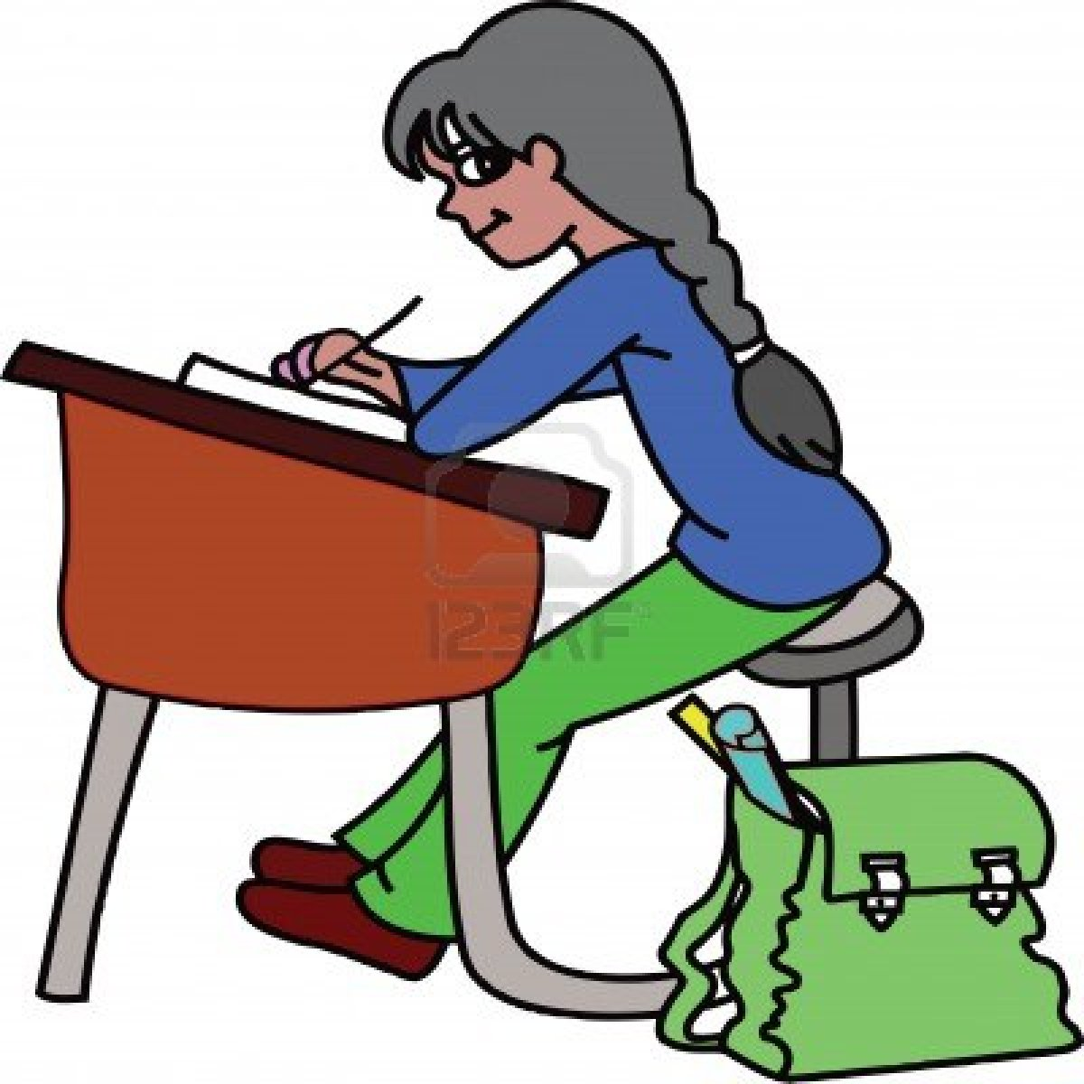 Girl At Desk Clipart Clipart Suggest