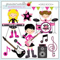 Girls Rock Cute Digital Clipart   Commercial Use Ok   Rockstar Clipart