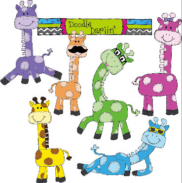 Groovy Giraffes Clipart Set By Doodledarlin On Etsy