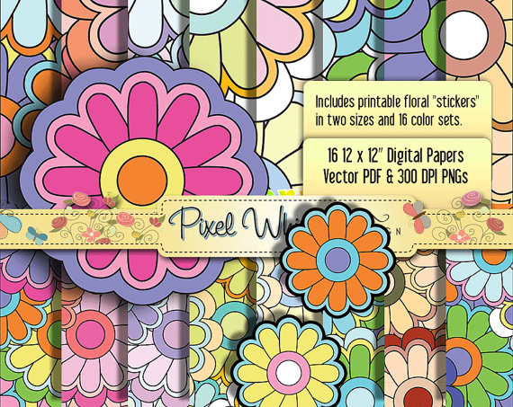 Groovy  Scrapbook Digital Papers And Large Floral Stickers    Pdfs