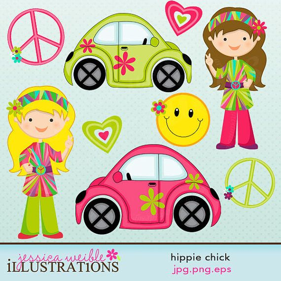 Hippie Chick Cute Digital Clipart For Card Design Scrapbooking And