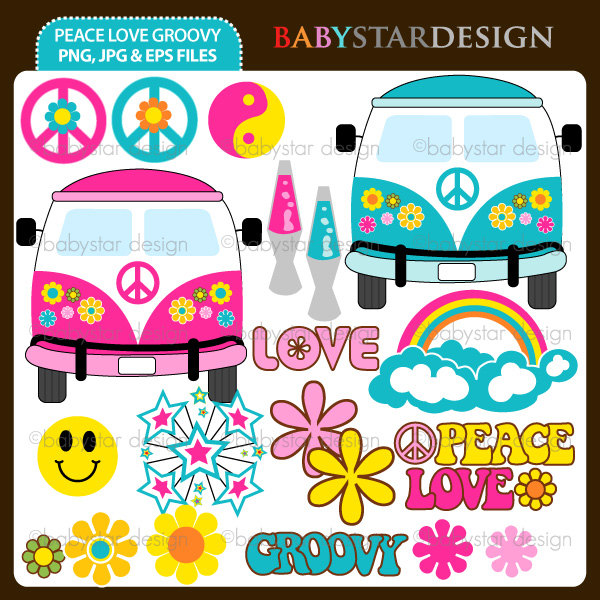Home Clipart Sets Peace Love And Groovy