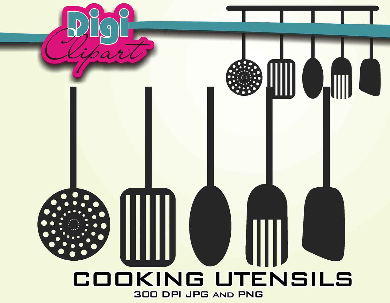 Kitchen Cooking Utensils Silhouette Clip Art By Digifotosclipart