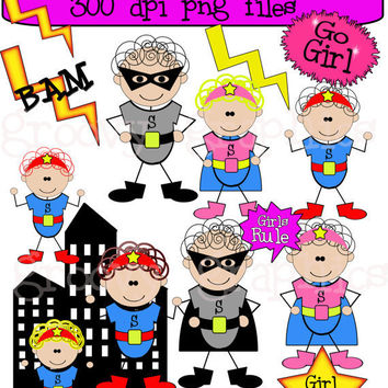 Little Girl Superheroes Digital Clipart Great By Groovygraphics