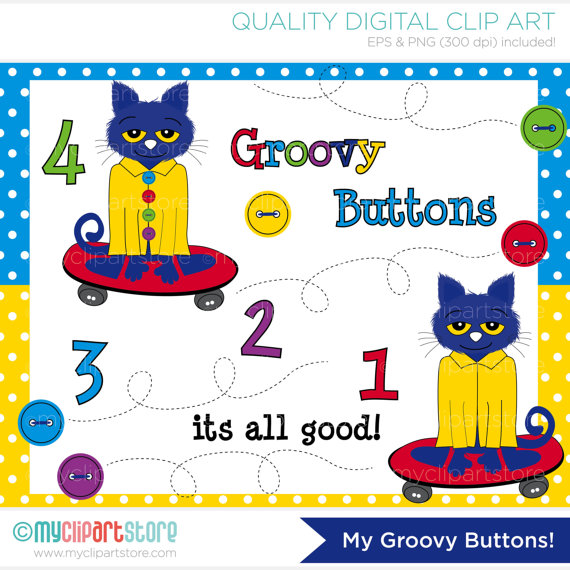 My Groovy Buttons   Pete Cat Clip Art   Digital Clipart   Instant