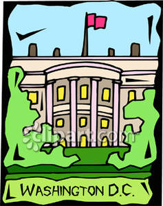 Of The White House In Washington D C   Royalty Free Clipart Picture