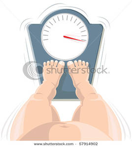 Overweight Concept  A Fat Person Standing On A Scale That S Maxed Out