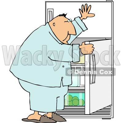 Overweight Man Looking Through The Refrigerator For Food Clipart