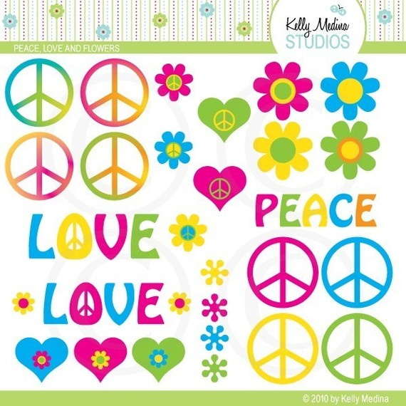 Peace Love And Flowers Clipart Set   Digital Elements Commercial Use