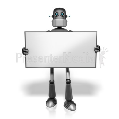 Retro Robot Holding Sign   Presentation Clipart   Great Clipart For