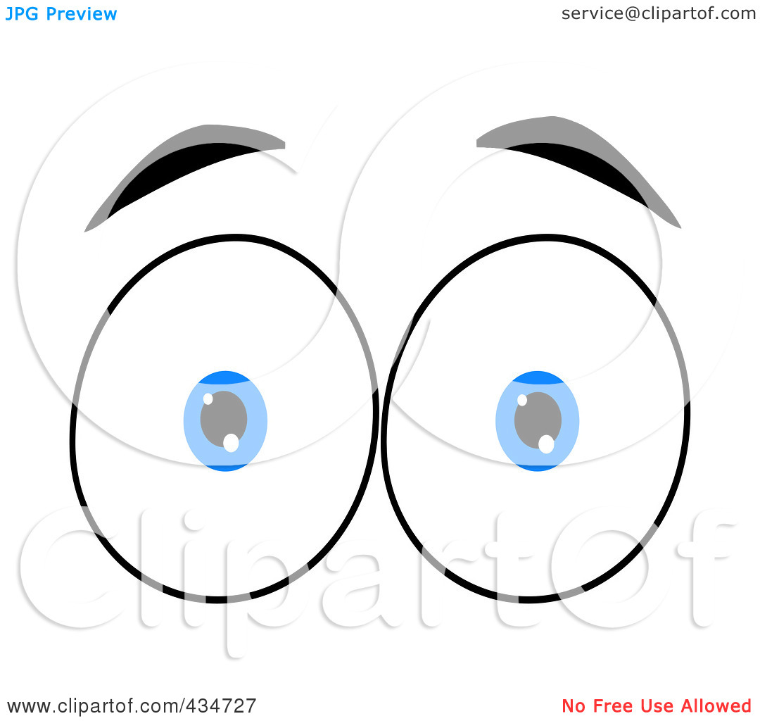 Rf  Clipart Illustration Of A Surprised Pair Of Blue Eyes By Hit Toon