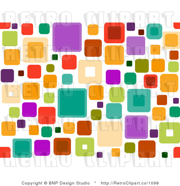 Royalty Free Retro Groovy Seamless Square Pattern Over White By Bnp