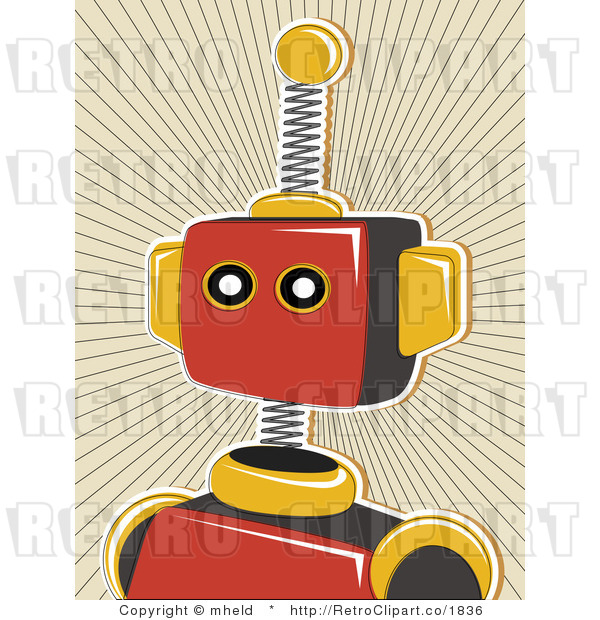 Royalty Free Retro Red Robot Over A Tan Burst Background By Mheld