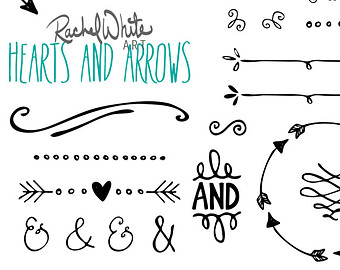 Rustic Heart And Arrow Clip Art Vector Hearts Arrows Clip ...