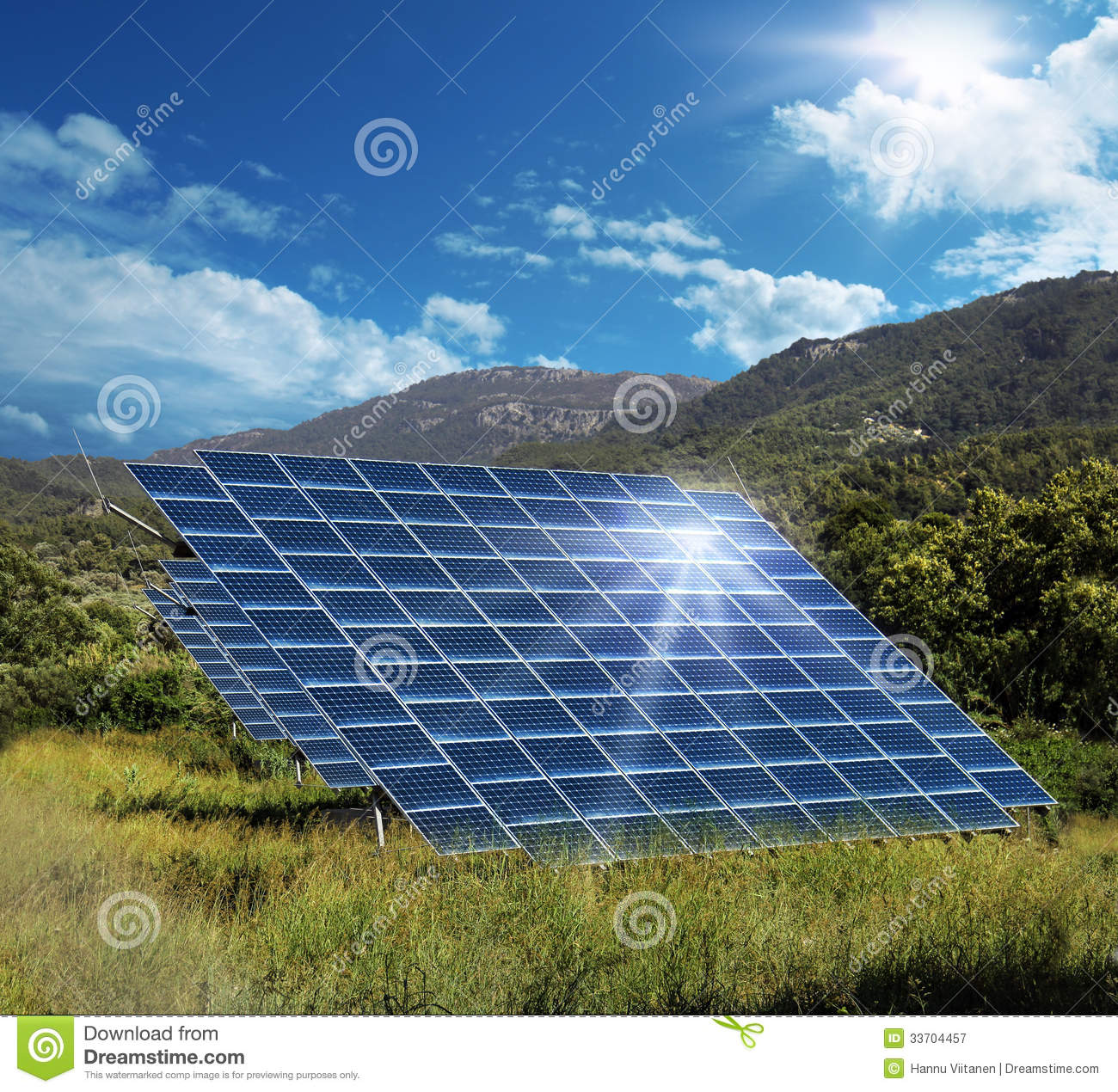 Solar Energy Panel Collectors Reflecting Sun Royalty Free Stock